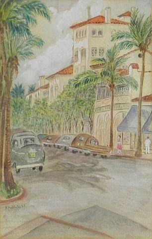 H. Hobbelink Kaastra water color, Palm Beach
