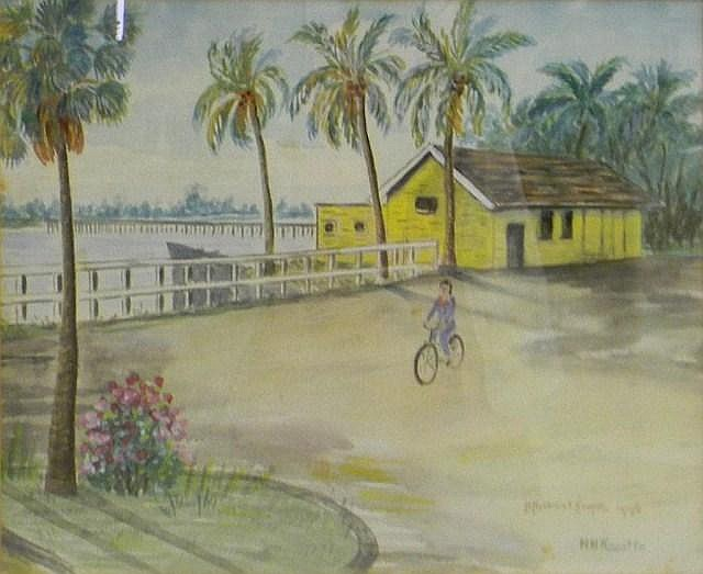 H. Hobbelink Kaastra water color, Florida scene
