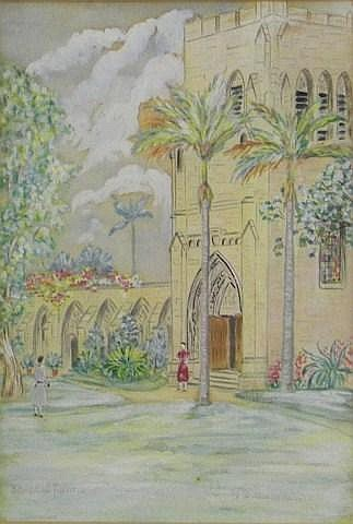 H. Hobbelink Kaastra water color, church