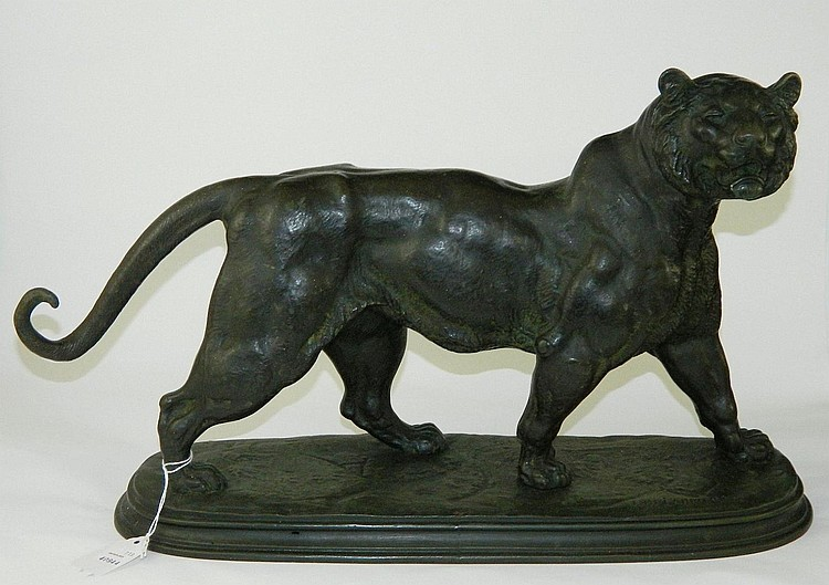 Paul Edouard Delabrierre bronze sculpture of tiger