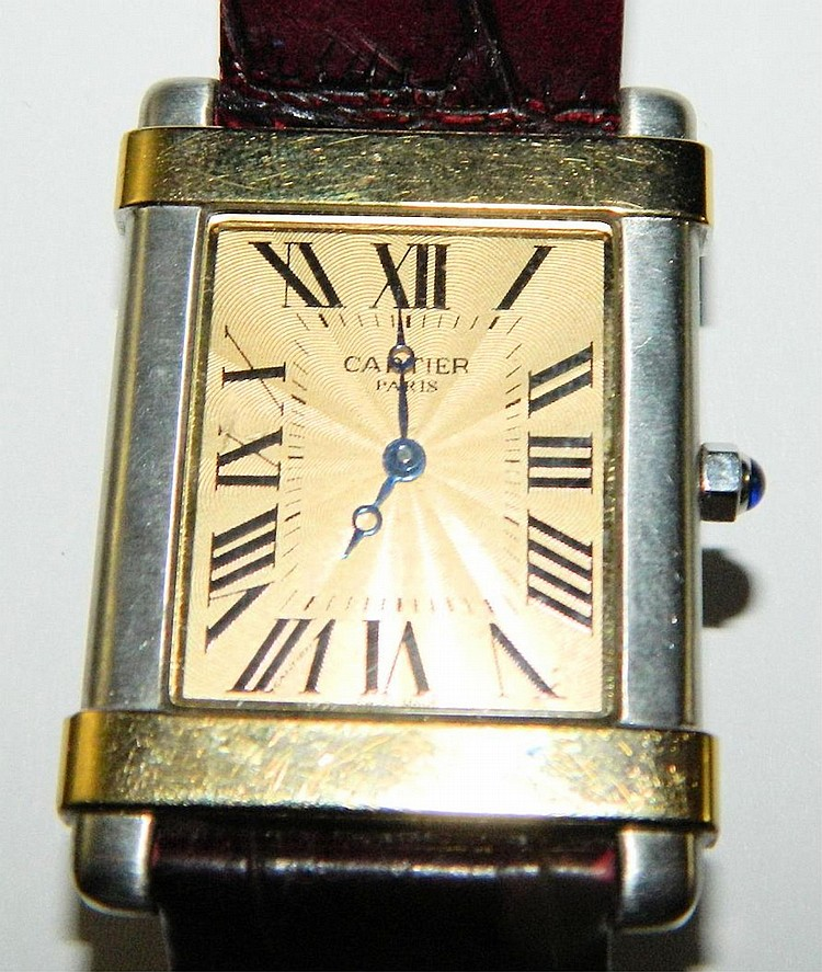 Sterling Cartier Paris Vermeil Tank Quartz watch