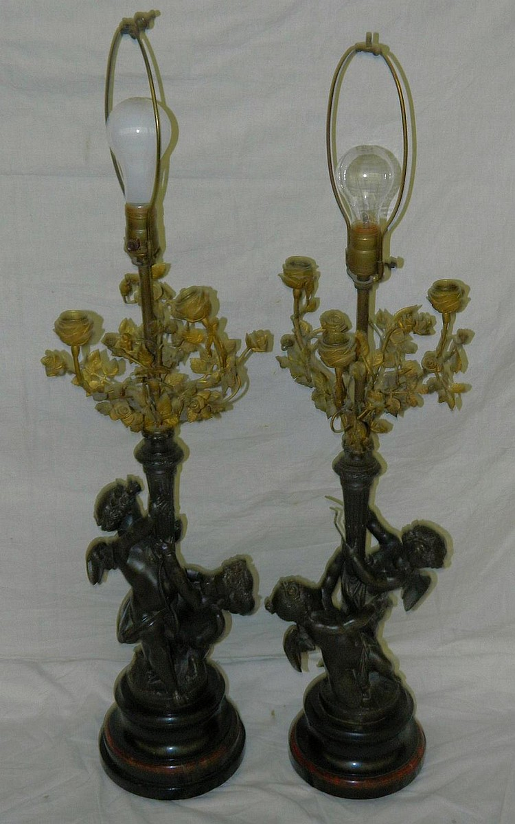 Pair of Bronze Cherub Lamp Bases
