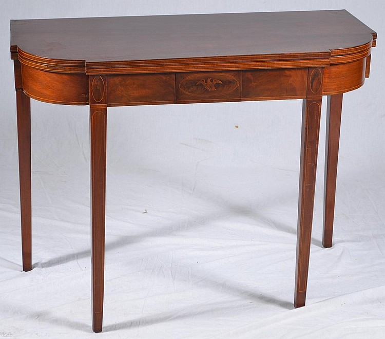 Antique Inlaid mahogany Card Table Gen. Lafayette