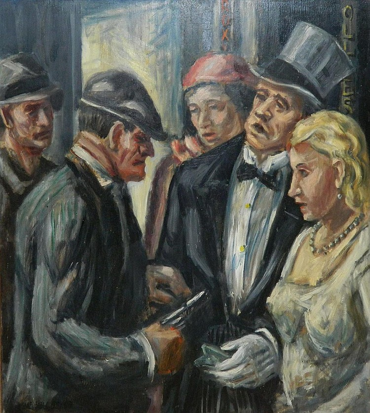Emerson C. Burkhart oil on board, Robbery