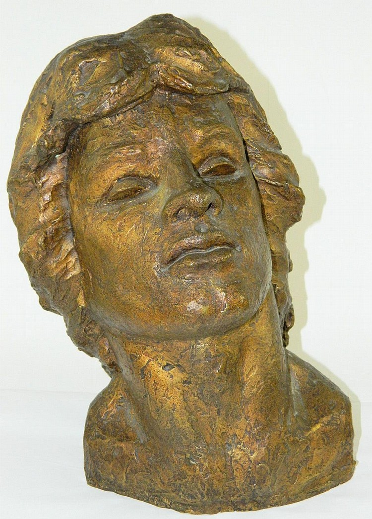 Victor Salmones bronze sculpture, head bust
