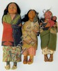 3 Indian dolls, 2 with papoose
