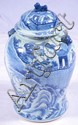 Oriental pottery blue decorated ginger jar