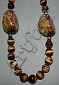 Tiger's eye necklace with decorated stones & 14k