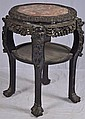 Carved Oriental Rosewood marble top table