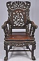 Oriental Rosewood dragon scene arm chair