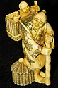 Signed & decorated ivory carved figural netsuke
