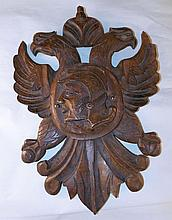 Wood Carved Plaque w/Eagles