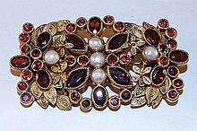 Sterling Silver Pin with Garnets & Pearls
