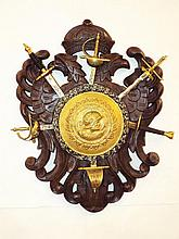 Carved & Brass Wall Plaque