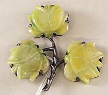 Sterling Silver and Hard Stone Flower Pin