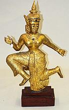 Carved & Gilt Decorated Siamese Dancer Figure