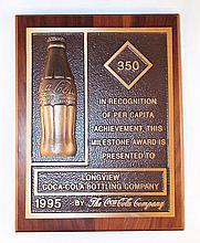 Coca Cola Per Capita Sales Award Plaque