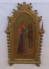 Colored Print of Angel in Carved Gilt Frame