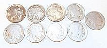 Group of 9 Buffalo Nickels