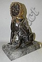 Bronze dog sculpture with bonnet