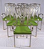Set of 6 brass tip stainless steel chairs