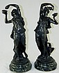 Pair of Clodion bronze sculptures on marble bases