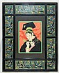 Paul Jacoulet wood block in frame with cloisonne
