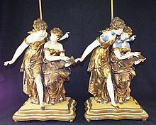 Pair of Decorated Metal Figural Lamps