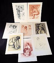 Folder with 8 Renoir Prints water marked paper