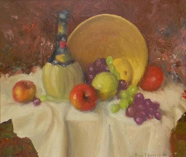Ray Edwards oil on canvas, still life of fruit