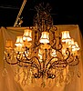 Italian Crystal and Gilt Iron Chandelier