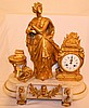 French Gold Gilt Metal and Onyx Clock