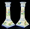 Signed Handpainted Porcelain Candlesticks