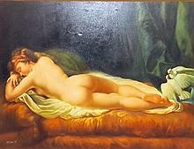 G. Bererdi Oil on Canvas of Sleeping Nude Woman