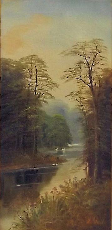 F. Johan Oil on Canvas Landscape of Stream