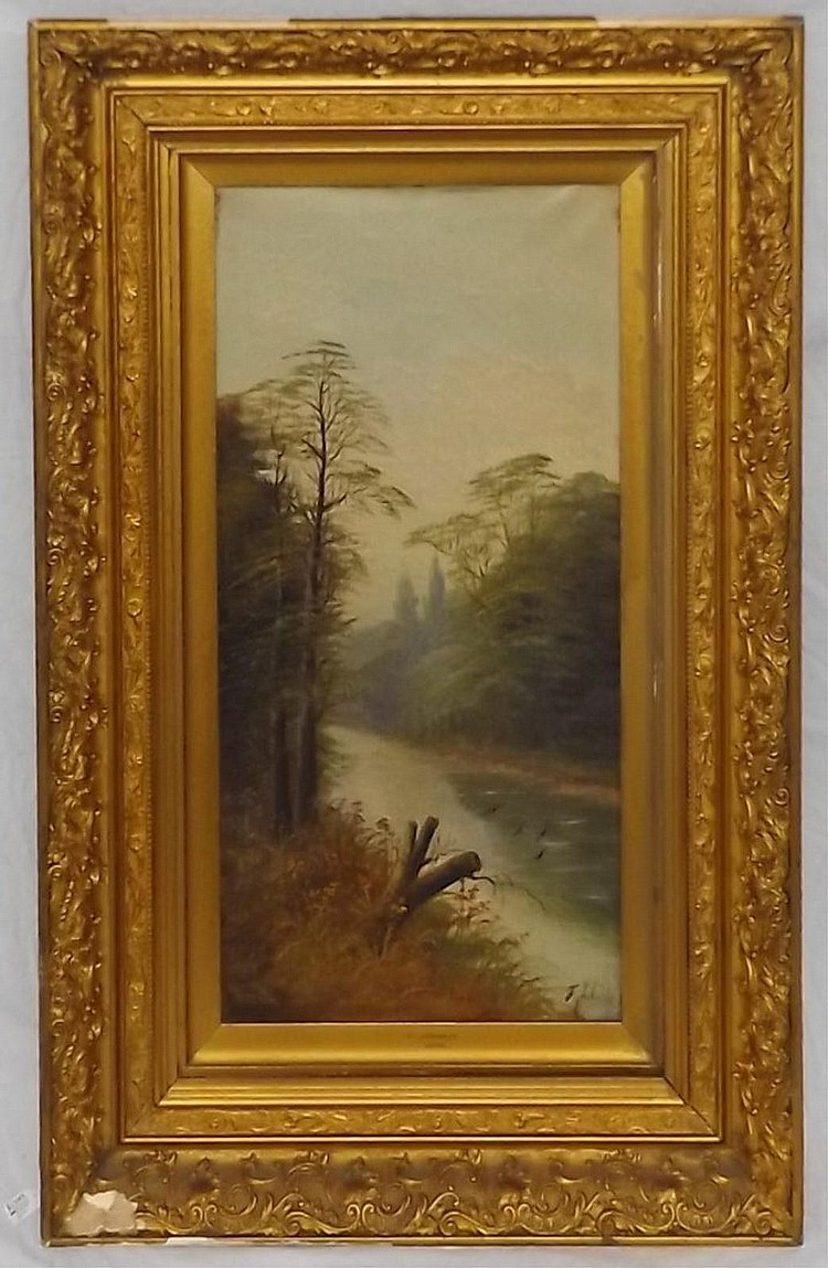 F. Johan Oil on Canvas Landscape of Stream