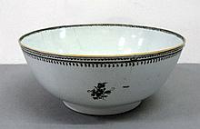 A Chinese export grisaille punch bowl 18th century