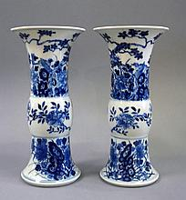 A pair of Chinese blue and white gu-shaped beaker
