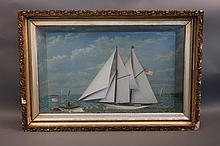 Rare, 19th century yachting shadow box