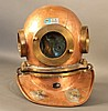 Copper deep sea diving helmet