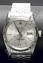 Reloj suizo ROLEX, mod. 'Oyster Perpetual Date Just'. Movimiento automatico.  En caja de acero y brazalete 'JubilE'. Calendario. Esfera metalizada