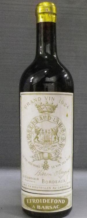 1 Bouteille GRUAUD LAROSE Niveaux mi épaule.  Level mid shoulder.  1924