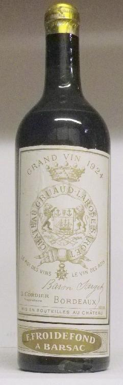 1 Bouteille GRUAUD LAROSE Niveau base  épaule.  Level low shoulder.  1924