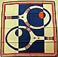 HENRY A LA PENSEE Paris par James Gibbéz Foulard en soie bleu, rouge et blanc à décor de raquettes de tennis - Dimensions : 77 x 77 cm (bon état)HENRY A LA PENSEE Paris par James Gibbéz Blue, red and white silk scarf decorated with tennis rackets -