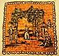 JEANNE LANVIN Foulard en soie orange et beige à décor de scène dansante - Dimensions : 76 x 78 cm - Size : 29,9 x 30,7 in. (bon état/good condition)