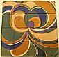 JACQUES FATH Paris Foulard en soie marron et vert à décor graphique - Dimensions : 75 x 77 cm (bon état)JACQUES FATH Paris Brown and green silk scarf with graphic patterns - Size : 29,5 x 30,3 in. (good condition)