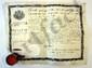CHARLES X (1757-1836). P.S. (griffe), contresignée par le marquis de CLERMONT-TONNERRE, ministre de la Guerre, et le comte de PEYRONNET, garde des Sceaux, Paris 28 novembre 1825 ; vélin oblong in-fol. en partie impr. avec vignette aux armes, sceau