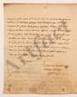 Louis-Bertrand CASTEL (1688-1757) savant jésuite. L.A.S., Lundi matin [printemps-été 1735], au Président de MONTESQUIEU à Paris ; 2 pages in-4, adresse (lég.  mouill., calculs autographes de Montesquieu sur le f. d'adresse). [CM 421]