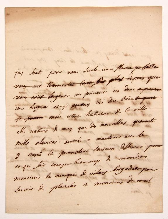 Charles de Secondat, baron de La Brède et de MONTESQUIEU. L.A. (minute), [Paris fin février-début mars 1734, à Henriette, marquise de RENEL] ; 2 pages in-4 avec ratures. [CM 379]