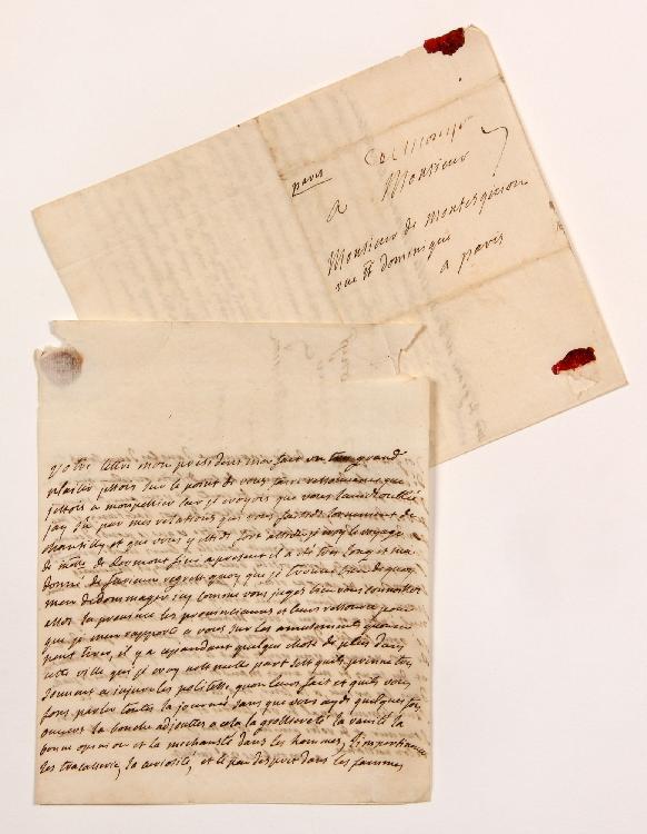 Marie-Anne Goyon de Matignon, Madame de GRAVE (1697-1738) fille du maréchal de Matignon, elle fut la maîtresse de Montesquieu. 2 L.A., Montpellier juillet-août [1735], à MONTESQUIEU à Paris ; 2 pages et quart in-4 chaque, adresses avec cachets cire
